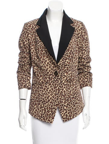 Rachel Zoe Leopard Print One-Button Blazer