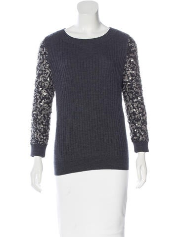 Rachel Zoe Embellished Wool Sweater None