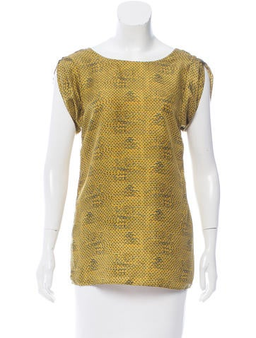 Rachel Zoe Silk Abstract Print Top None