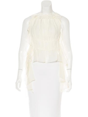 Rachel Zoe Ruffle-Trimmed Silk Top w/ Tags None