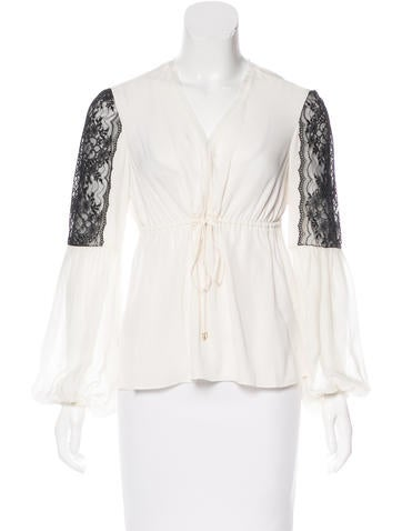Rachel Zoe Silk Long Sleeve Top None