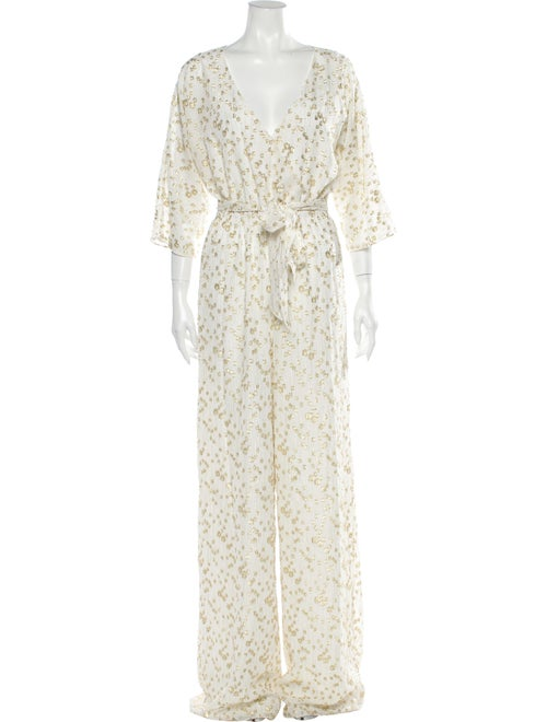 Rachel Zoe Printed V-Neck Jumpsuit Metallic