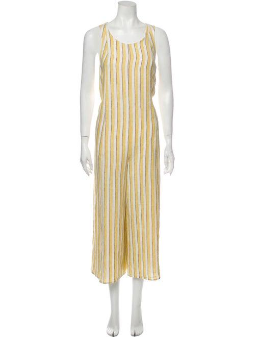 Rachel Zoe Linen Striped Jumpsuit Yellow