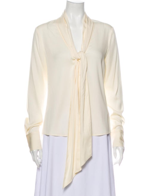 Rachel Zoe Silk Tie Neck Blouse White