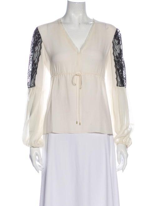 Rachel Zoe Silk Lace Pattern Blouse White