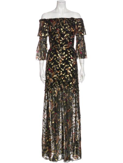 Rachel Zoe Printed Long Dress Gold