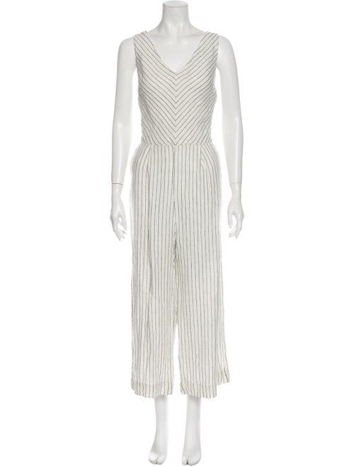 Rachel Zoe Linen Striped Jumpsuit White - image 1