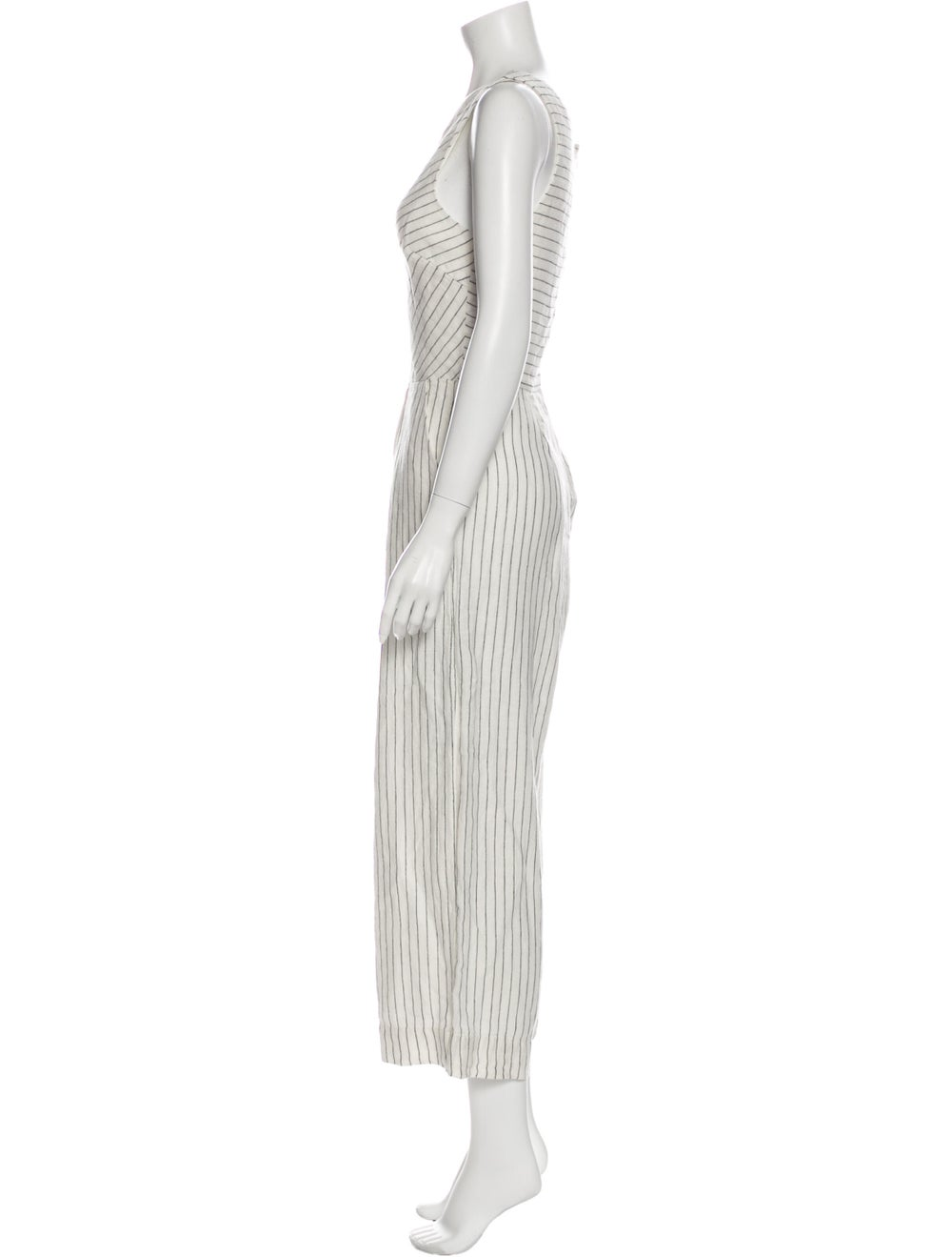 Rachel Zoe Linen Striped Jumpsuit White - image 2