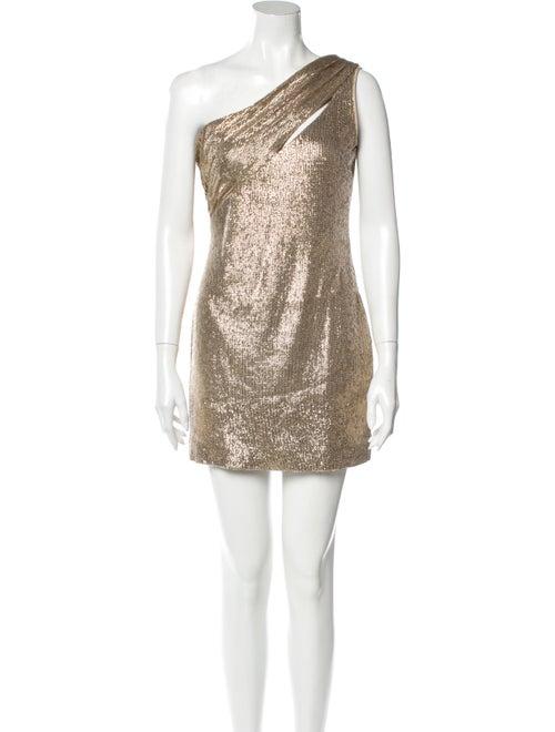 Rachel Zoe One-Shoulder Mini Dress Gold