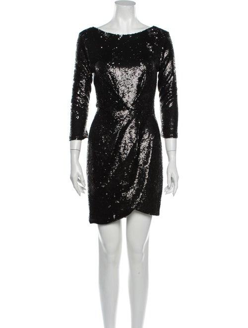 Rachel Zoe Scoop Neck Mini Dress Black