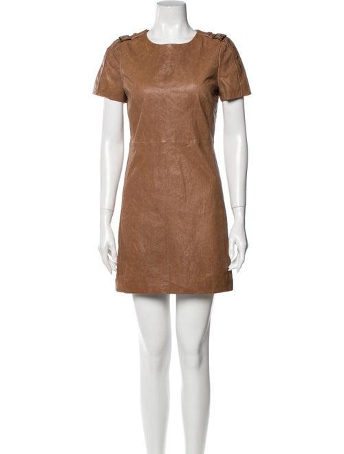 Rachel Zoe Crew Neck Mini Dress Brown