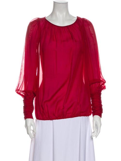 Rachel Zoe Scoop Neck Long Sleeve Blouse Red