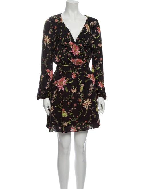 Rachel Zoe Floral Print Mini Dress Black