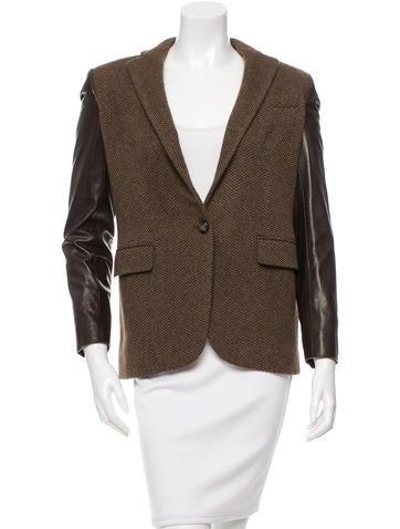 Ralph Lauren Black Label Leather Sleeve Wool Blazer None