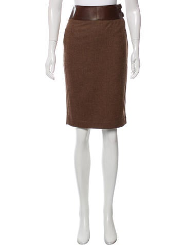 Ralph Lauren Black Label Leather-Trimmed Wool Skirt None