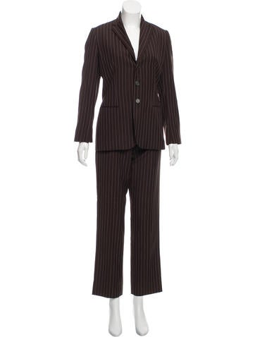 Ralph Lauren Black Label Wool Pinstripe Pantsuit None