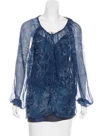 Ralph Lauren Black Label Silk Floral Print Top None