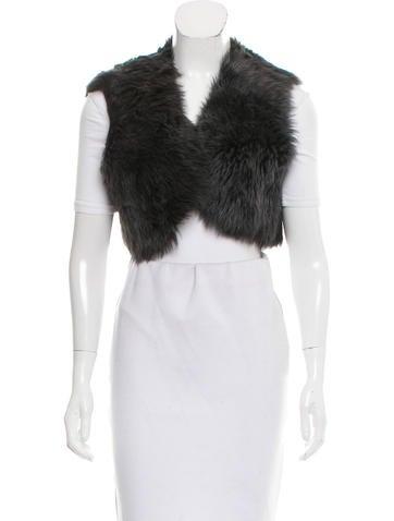 Ralph Lauren Black Label Shearling Cropped Vest None