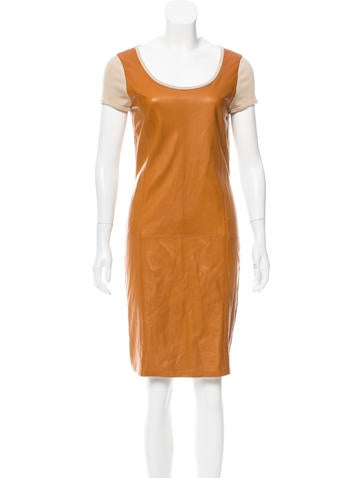 Ralph Lauren Black Label Leather-Accented Mini Dress w/ Tags None