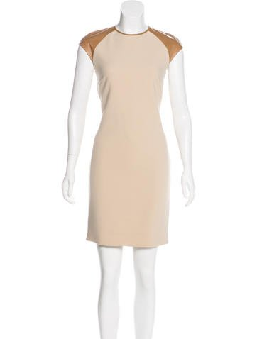 Ralph Lauren Black Label Leather-Accented Wool Dress None
