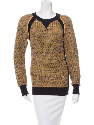 Rebecca Minkoff Patterned Rib Knit-Trimmed Sweater None