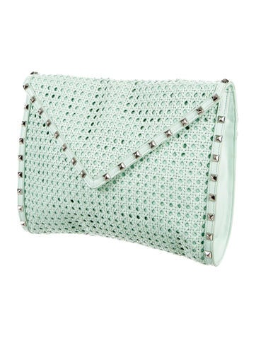 Owen Studded Woven Leather Clutch
