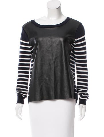Rebecca Minkoff Leather-Accented Striped Sweater None