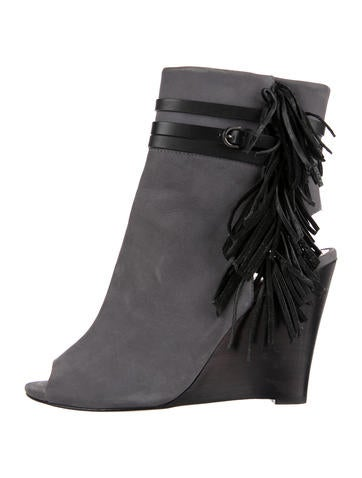 Rebecca Minkoff Fringed Wedge Ankle Boots None
