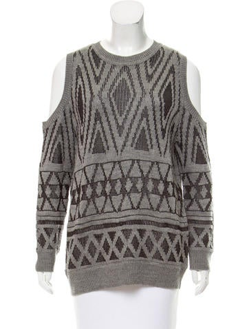 Rebecca Minkoff Patterned Cold-Shoulder Sweater None