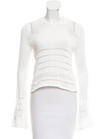 Rebecca Minkoff Eyelet Mesh Knit Sweater None