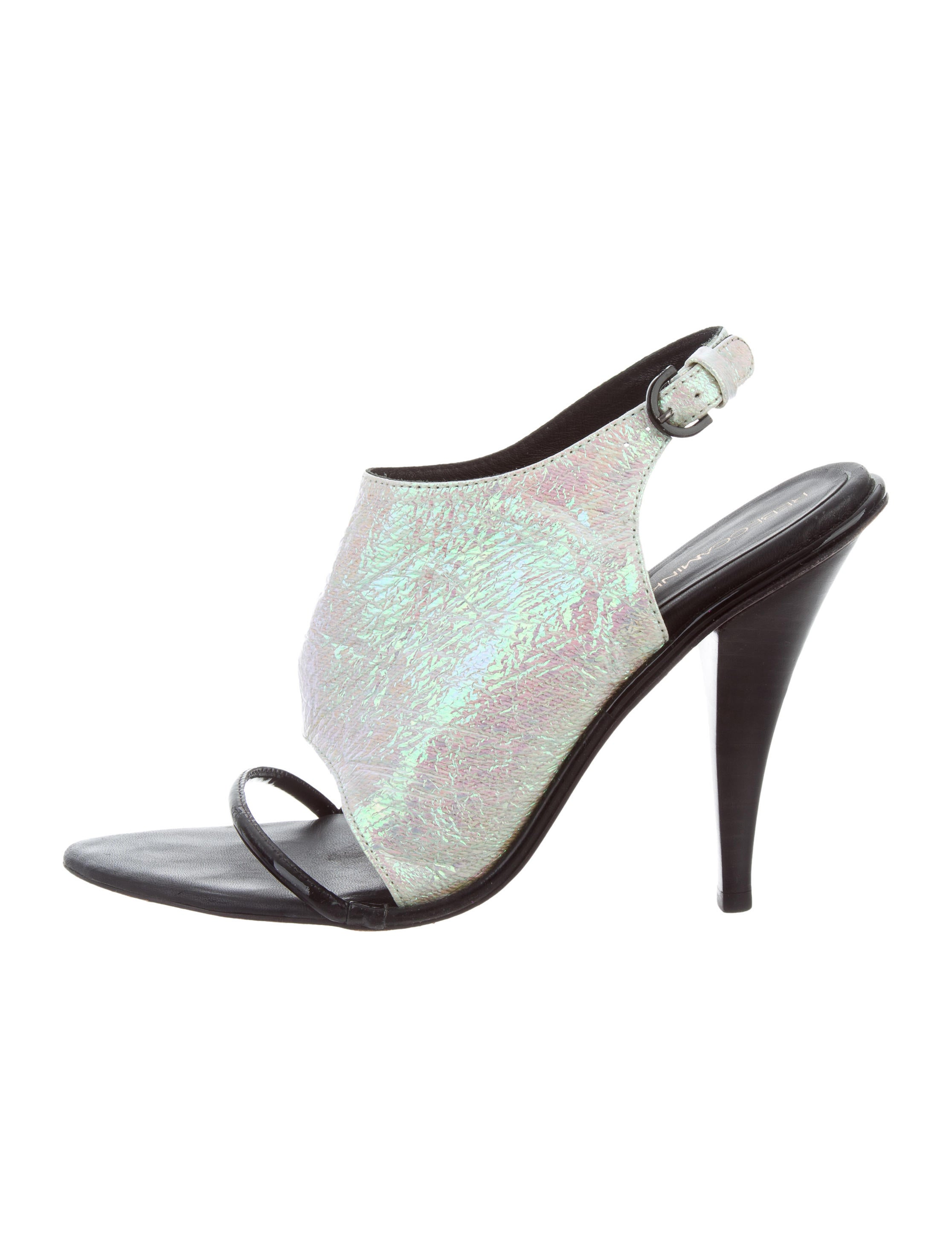 sale high quality Rebecca Minkoff Iridescent Leather-Trimmed Sandals sale comfortable recommend cheap price prices for sale shop offer cheap price tagJhBWk