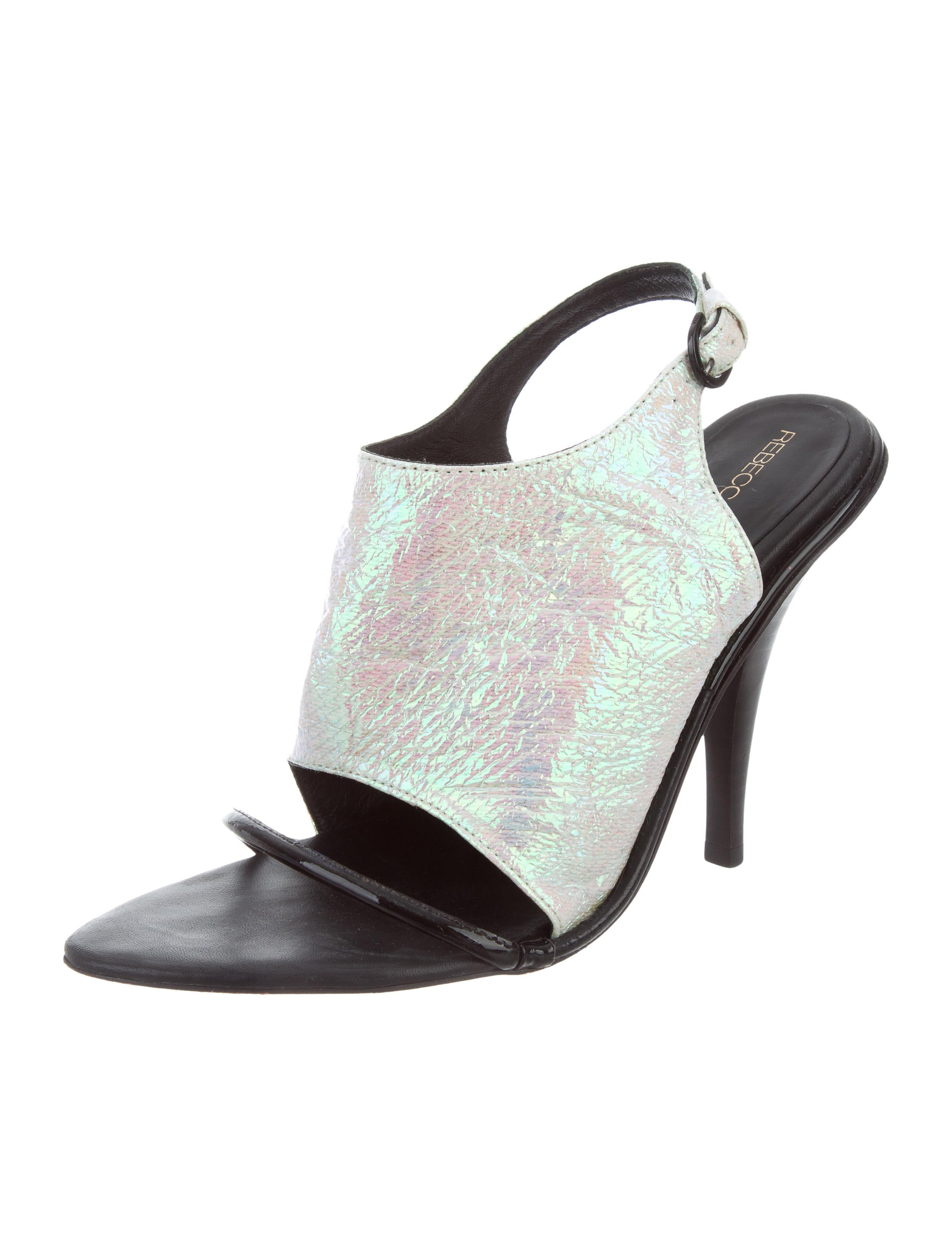 pre order cheap online cheap sale new Rebecca Minkoff Iridescent Leather-Trimmed Sandals for cheap sale online free shipping largest supplier low price fee shipping sale online nEdGTc