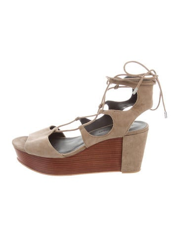 Rebecca Minkoff Suede Lace-Up Wedges None