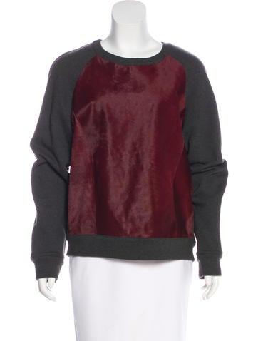 Rebecca Minkoff Ponyhair-Paneled Knit Sweatshirt w/ Tags None