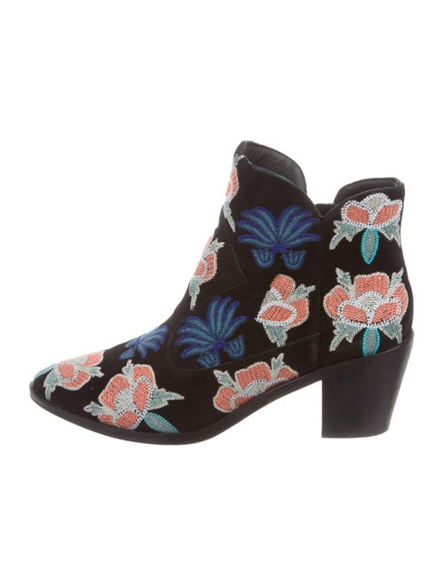 Rebecca Minkoff Embroidered Ankle Boots Black