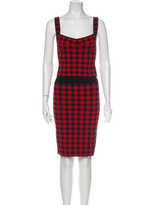 Ronny Kobo Plaid Print Skirt Set Red