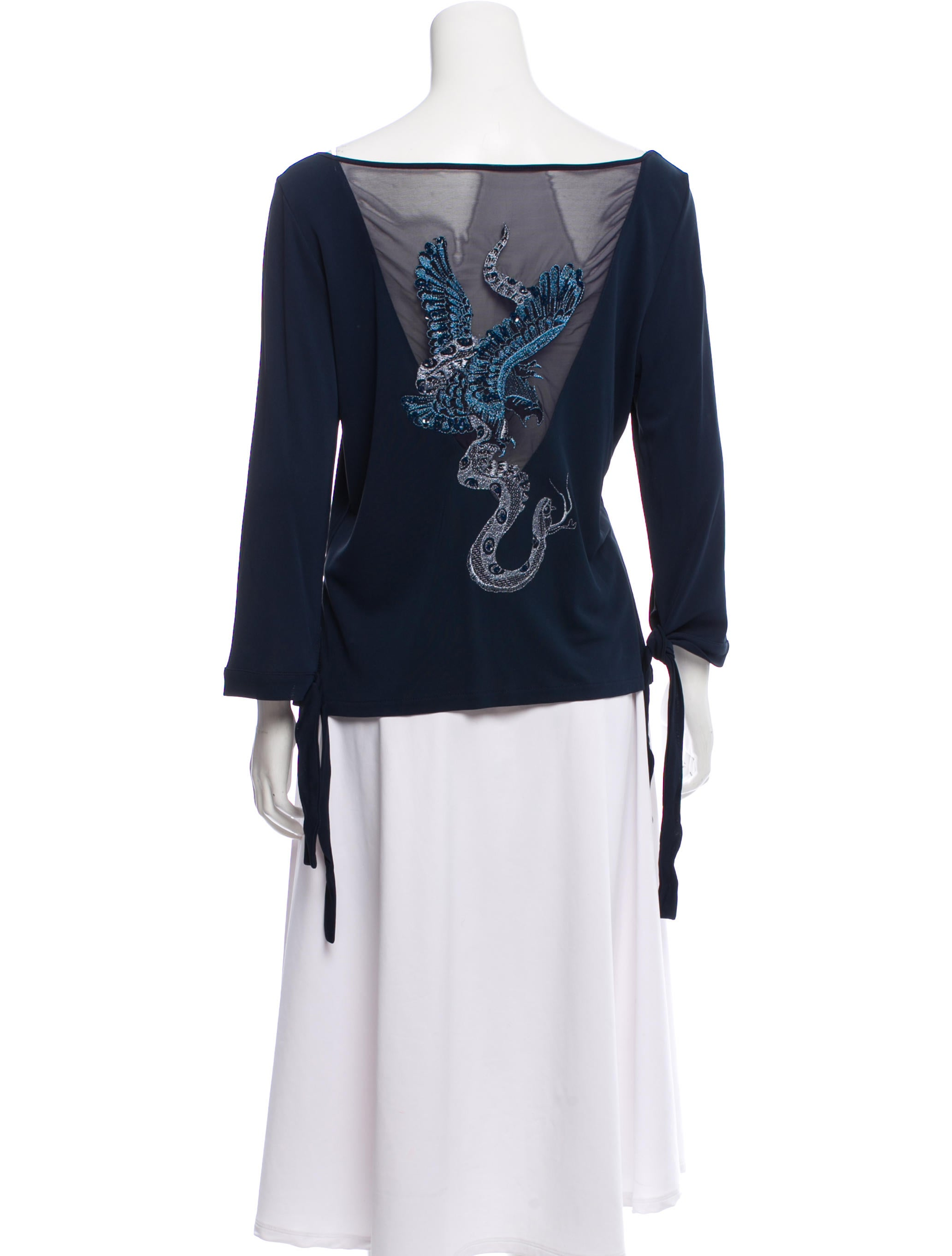 finest selection 89d75 386d9 Class Roberto Cavalli Long Sleeve Embroidered Top