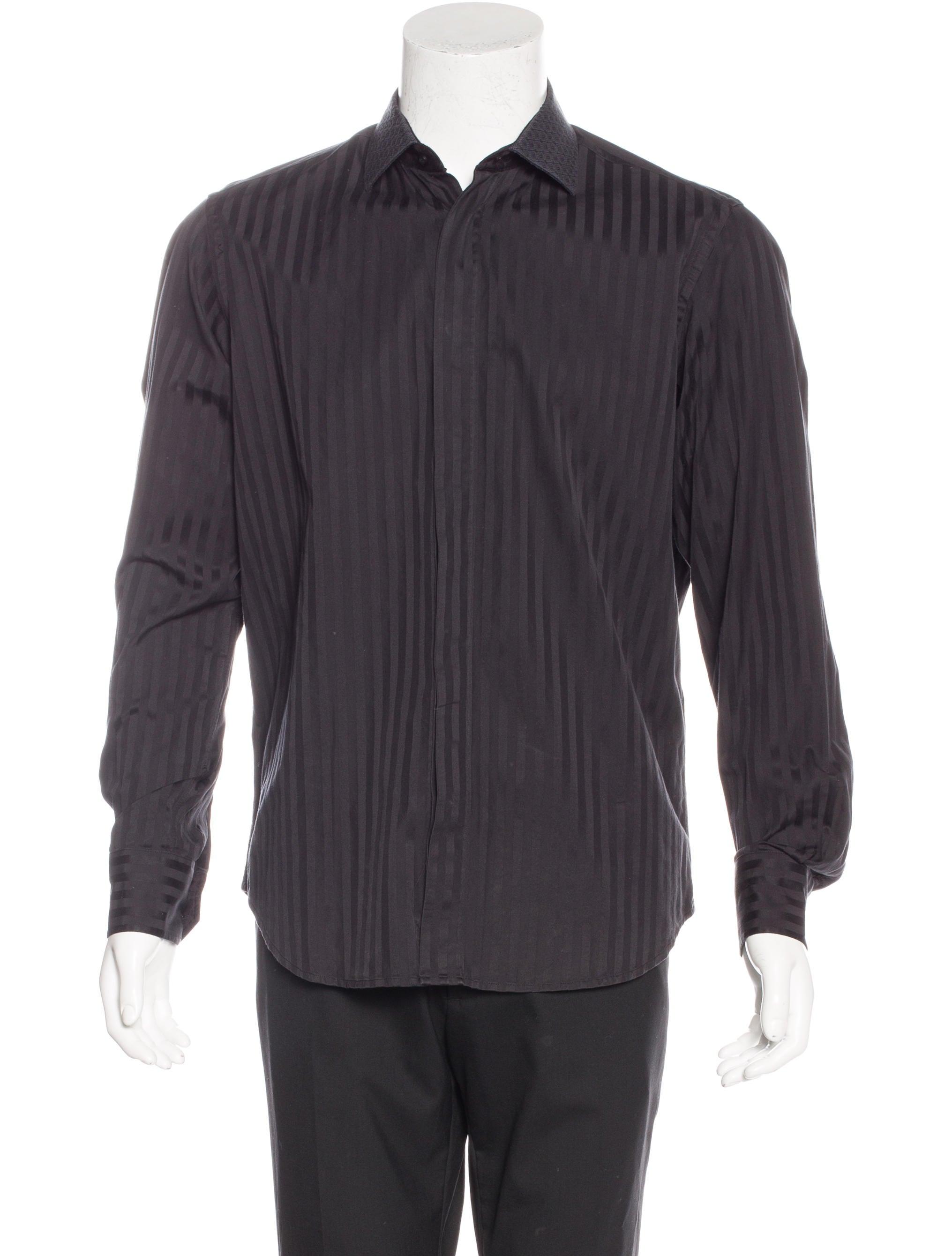 Robert Graham Striped Embroidered Collar Shirt Mens Shirts