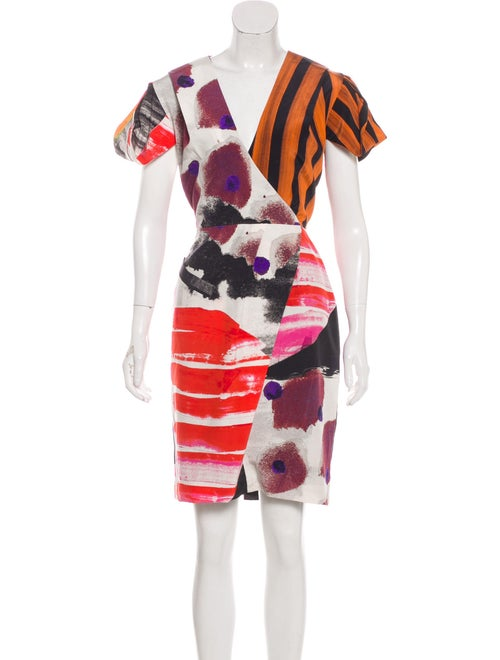 Romance Was Born Silk Abstract Dress multicolor