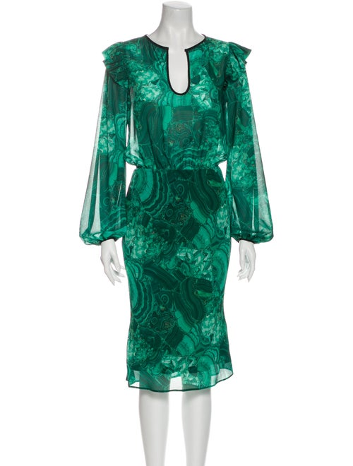 Romance Was Born Printed Knee-Length Dress Green