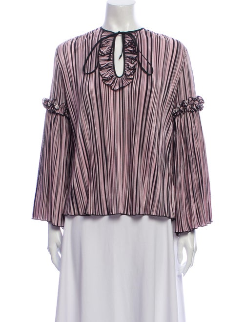 Romance Was Born Striped V-Neck Blouse Pink