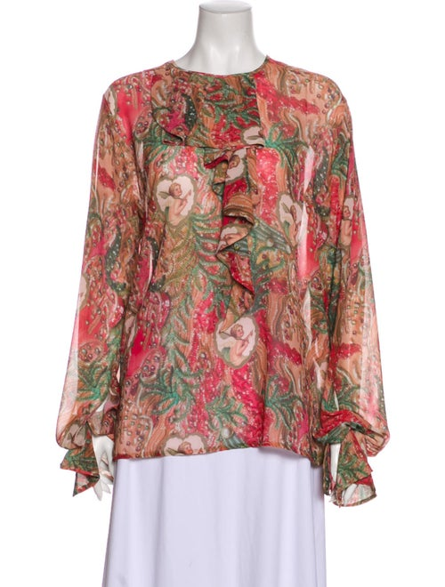 Romance Was Born Silk Printed Blouse Red