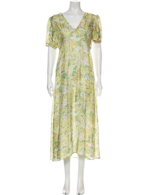 Rouje Floral Print Long Dress Yellow