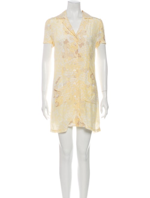 Rouje Printed Mini Dress Yellow
