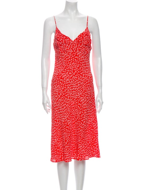 Rouje Floral Print Knee-Length Dress Red