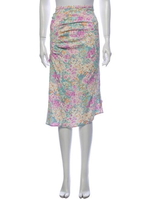 Rouje Floral Print Midi Length Skirt Purple