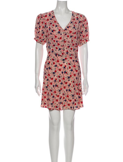 Rouje Floral Print Mini Dress Red
