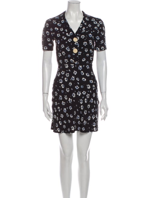 Rouje Floral Print Mini Dress Black