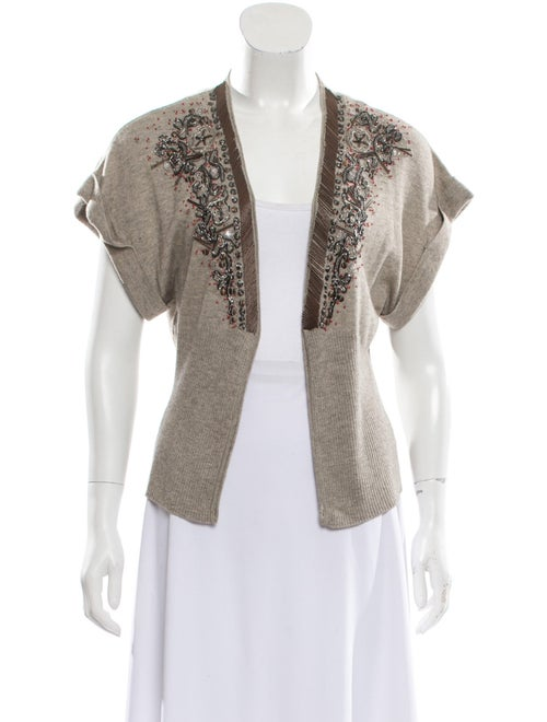 Rozae Nichols Silk Open Front Sweater Brown