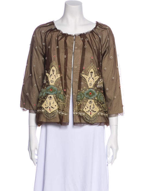 Rozae Nichols Printed Evening Jacket Brown